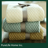 SZPLH Cotton Cable Knitted throw& blanket for sofa