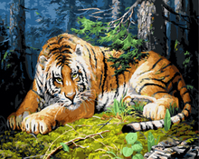 GX8254- 40*50 Oil Medium handmade oil painting with inner wood frame for tiger pattern design