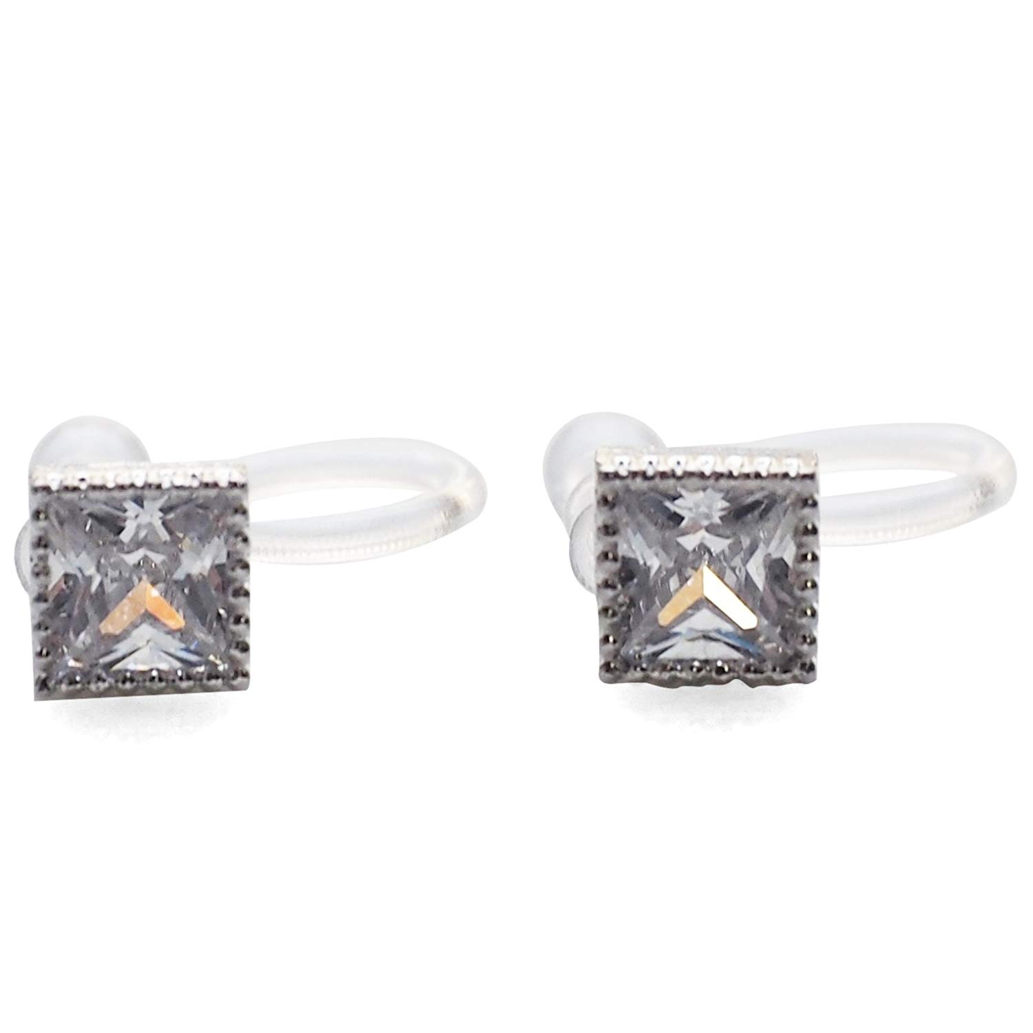 Miyabi Grace Women's Square Minimalist Comfortable Simple Cubic Zirconia Crystal Invisible Clip On Stud Earrings Silver tone