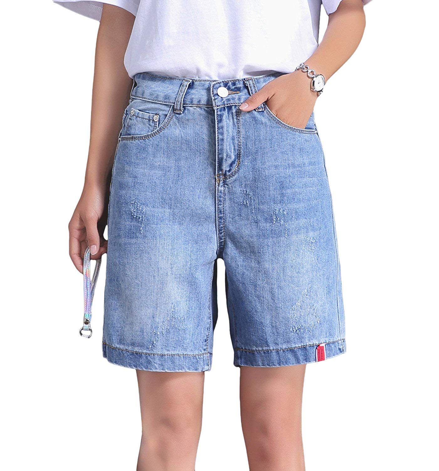 ed0c7a9731 Get Quotations · Oriarm Women Denim Bermuda Shorts High Waist Slim  Distressed Shorts Jeans Summer Casual Wide Leg Shorts