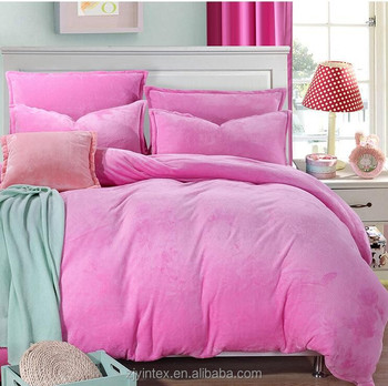 Winter Cashmere Bedding Sets Coral Fleece Flannel Bedding Pure Thickened  Quilt Cover Bed Sheet Korean Style