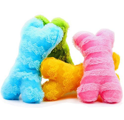 Pet Dog Plush Toys Bone Puppy Dog Cat Squeaky Chew Squeak Toy, Funny Dogs Throw Plush Toys Pet Supplies, Blue, Pink, Yellow