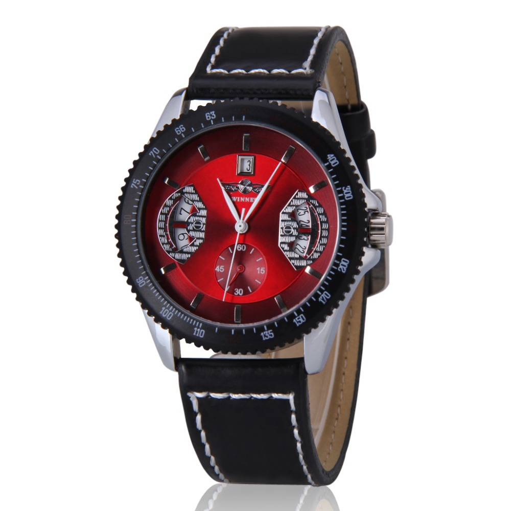 2015 New Luxury Fashion Winner Leather Band Stainless Steel Mechanical Wrist Watches For Men Mechanical Hand Wind WristWatch