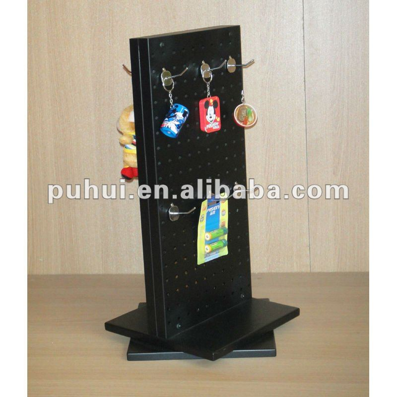 universal retail shop fixture steel pegboard rack double sides metal promotion counter spinning key chain display stand