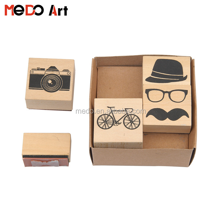 New Arrival Wholesale Fashion Wooden Rubber Stamp for Kids