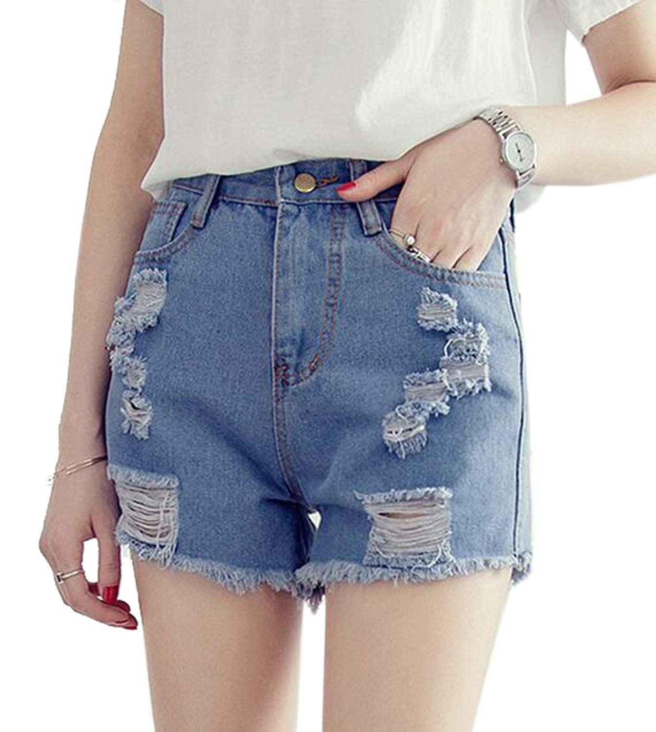 3ef08d72c4 Get Quotations · LD Womens Stylish Denim Shorts High Waist Distressed  Summer Jeans Shorts