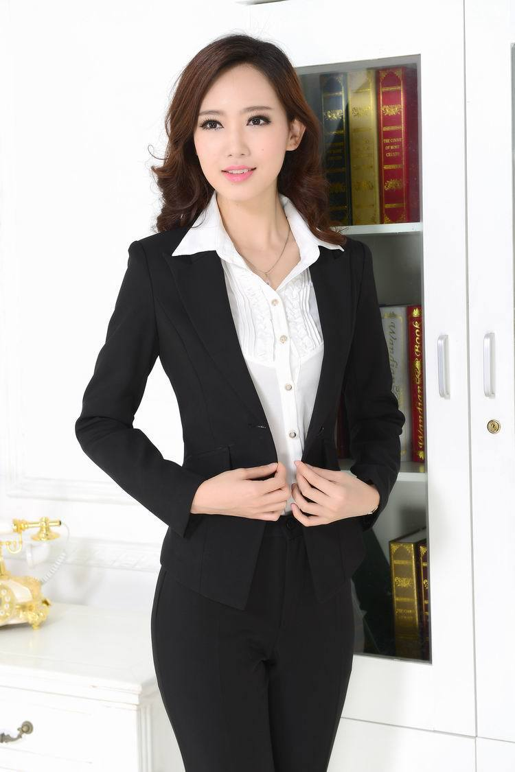 Buy New Professional Business Suits Formal Uniform Style Elegant Black  Office Work Wear Pantsuits For Ladies Blazer And Pants Set in Cheap Price  on ... 74d6e2d57