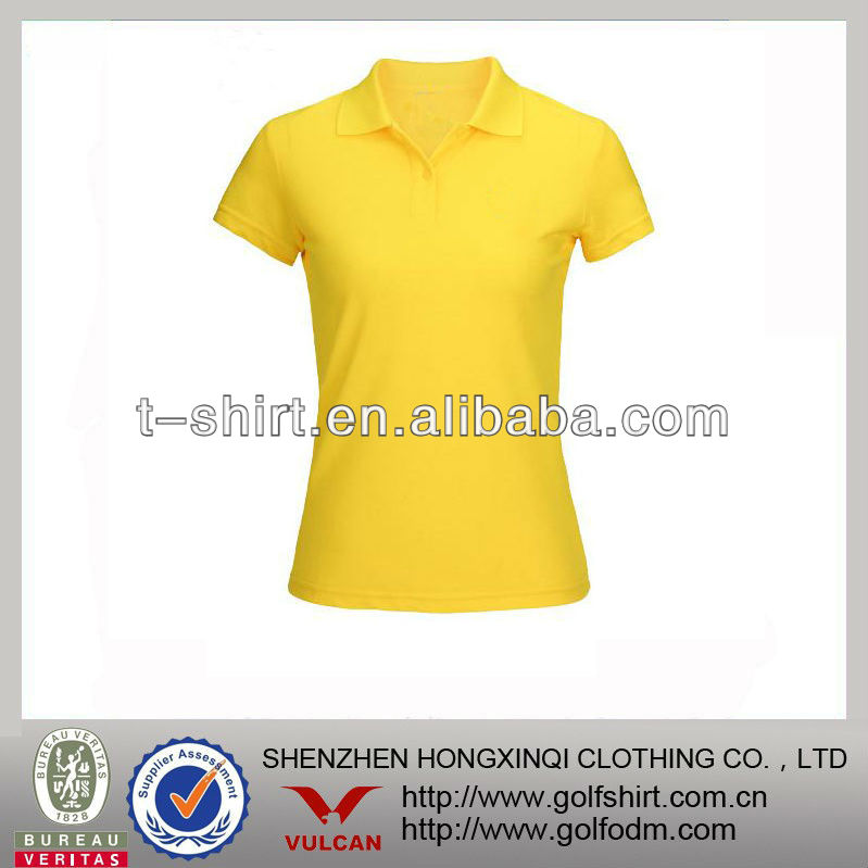 yellow polo collar t shirts women sport wear