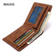 Fashion Bogesi brand camel leather thin wallet for euros dollars coin purse