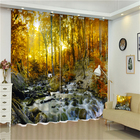 African Print Curtain Chinese Beaded 3D Lace Valance Blackout Blind Window Curtains With Living Room