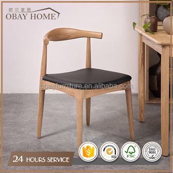 Restaurant chairs Leather seat Simple dining chairs by Birch or Beech Wood unfinished chairs