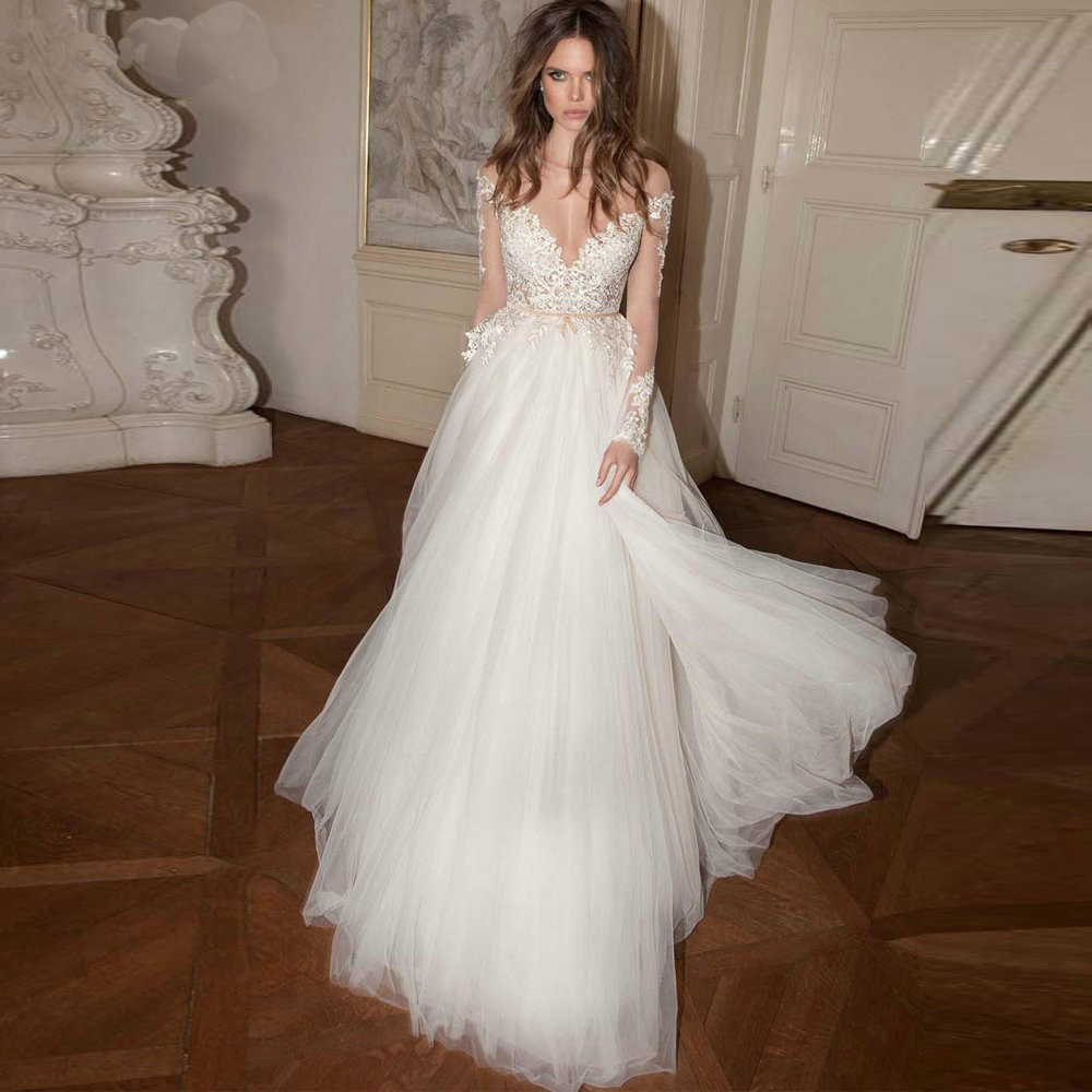 Charming A Line Tulle Long Sleeves Wedding Dress 2015 V