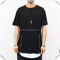 Double Zipper Fashion men Long T Shirt hip hop casual urban clothing, enlongated long IN t shirts for Men's streetwear Clothing