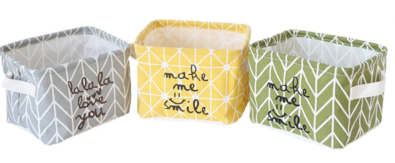 "Set of 3 Colors Collapsible Storage Baskets , 7.87"" x 6.30"" x 5.51"" Cotton Linen Folding Small Storage Box Toy Storage Bins Desktop Debris Organizer - Green, Yellow, Grey"
