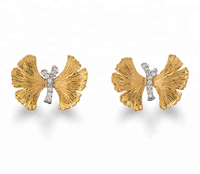 18K Gold Plated 925 Sterling Silver Butterfly Shape Earring with AAA CZ