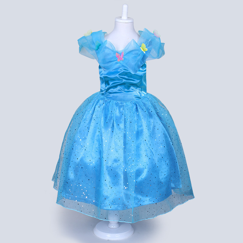 2016 New Cinderella Kids font b Dress b font Retail Blue Princess Girl font b Dress