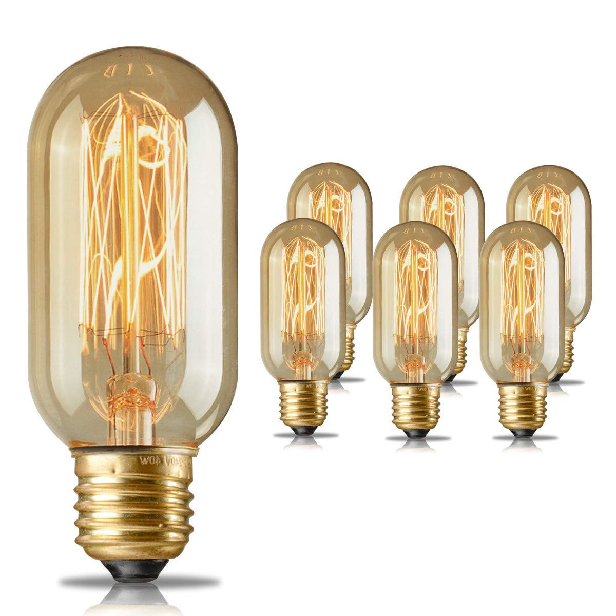Edison Light Bulbs,HESSION T45 40w Vintage Antique Tungsten Filament Incandescent Bulbs,E26 Base Light Bulbs for Decorative Pendant Lighting Dimmable 110V Amber Glass(6 Pack)