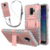 Rugged Shockproof Kickstand Cross Body Neck Strap Necklace Phone Cover For Samsung Galaxy A6 2018