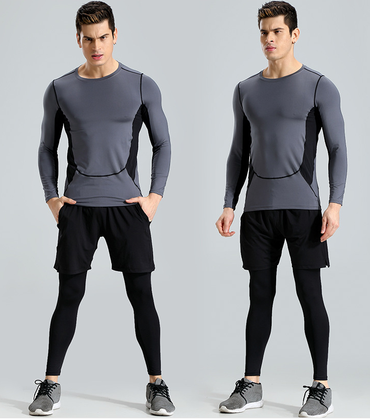 OEM high quality custom reflective logo T shirts dry fit compression stretched mens sports wear for fitness running