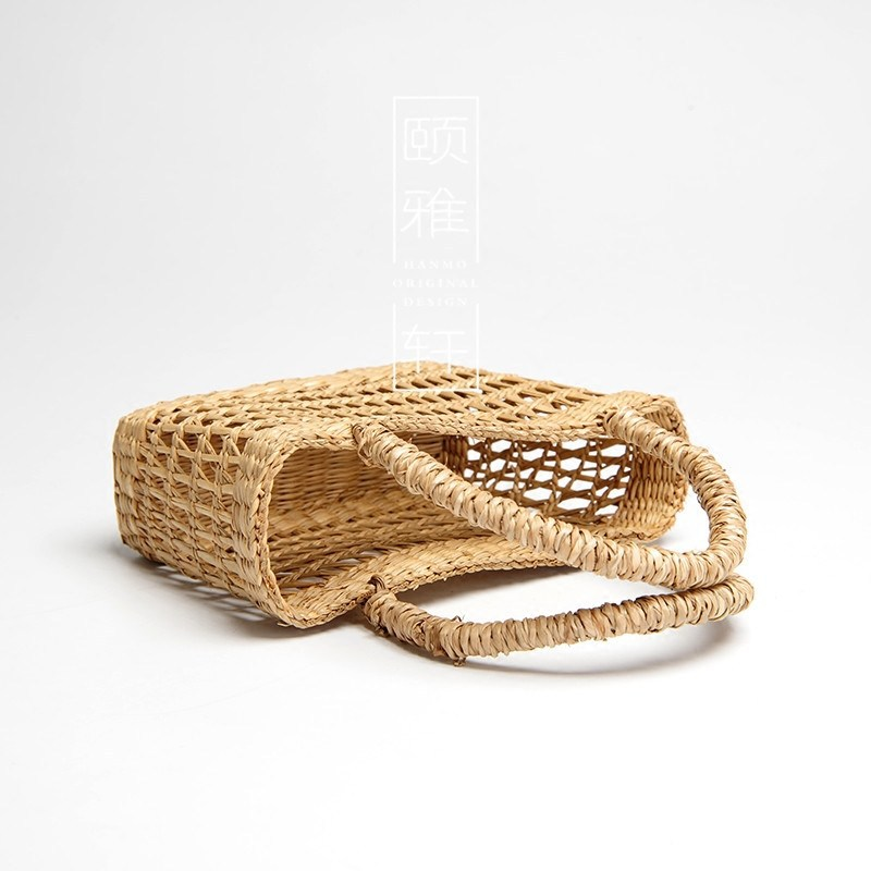 Summer Vintage Straw Beach Bag Hollow Out Handmade Woven Tote Market Braided Bag