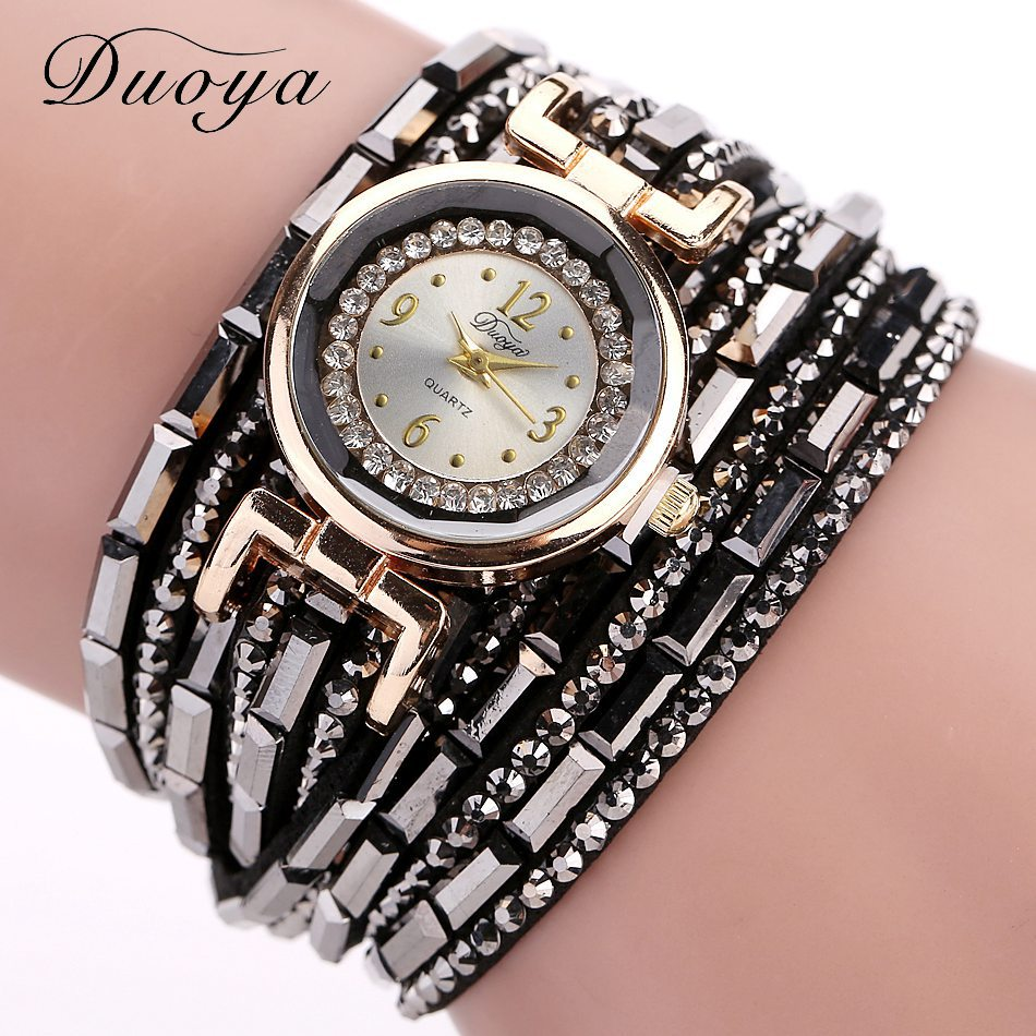 2016 New Groupon Beautiful 6 Colors Diamond PU Brand Women Watch