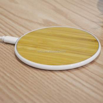 Bamboo wireless qi charger 10W with intelligent led for Samsung S6edge+,S7,S7 edge,S8,S8+