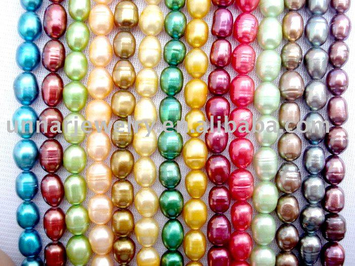 dyed colorful rice shape pearl loose strand