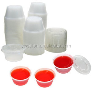 Disposable Mini Clear Plastic Jello Shot & Condiment Sauce Cups with Lids