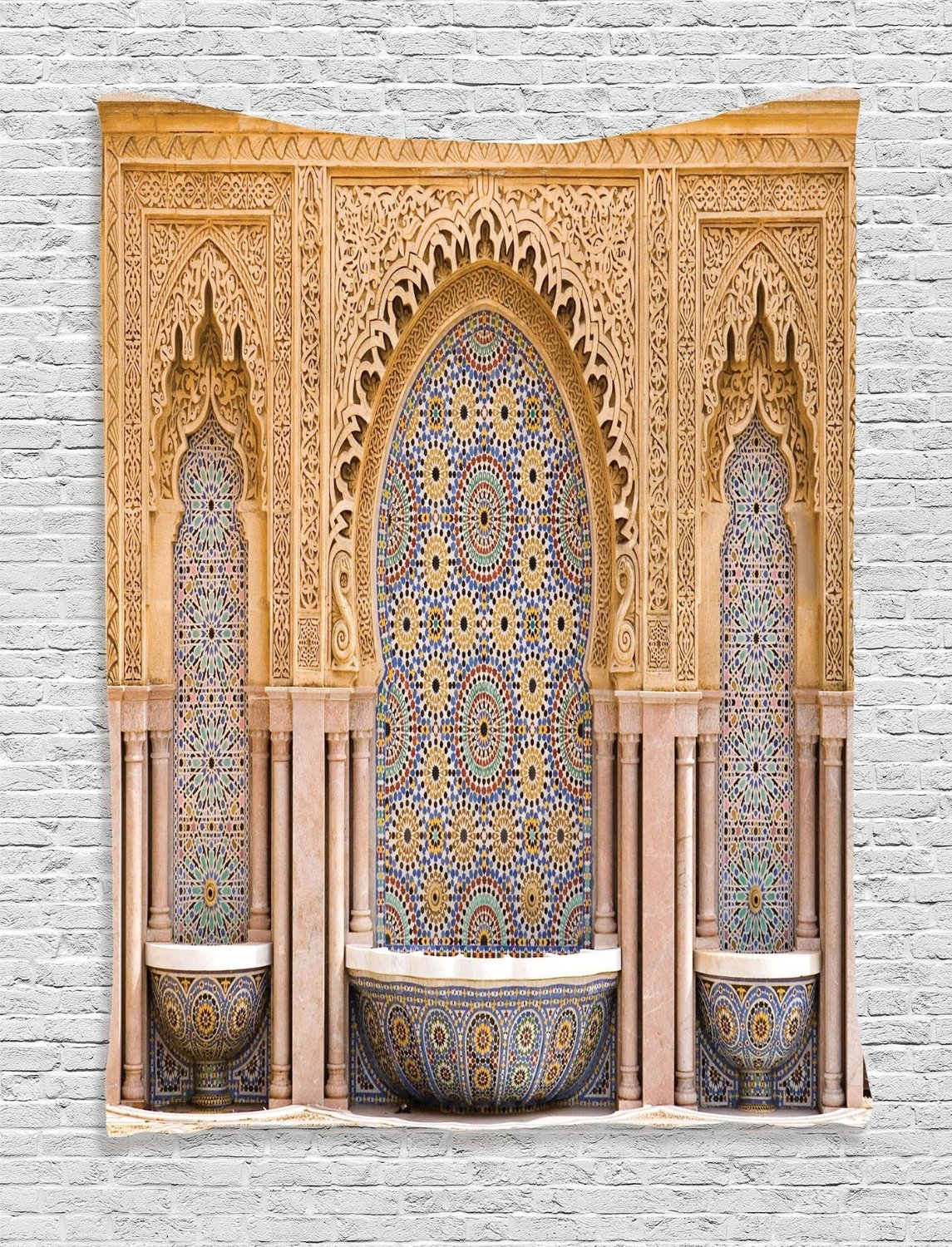 Ambesonne Moroccan Decor Collection, Typical Moroccan Tiled Fountain in the City of Rabat near the Hassan Tower Image, Bedroom Living Room Dorm Wall Hanging Tapestry, Ivory Blue
