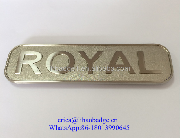 Highlight brushed aluminum metal plate your company logo for Plaque decorative adhesive alu inox metal
