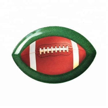 Oval shaped football printing plastic bread serving plate