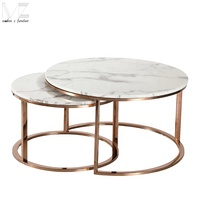 Natural Marble Elle Round Marble Nest Coffee Tables Set Of 2 Golden Faceted Luxury Tea Table