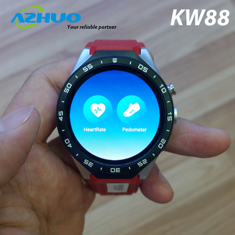"2017 New 3G Calling Smartwatch KW88 MT6580 Quad Core 1.39"" Amoled 400*400 Heart Rate Monitor Smart Watch KW88 Pedometer Watch"