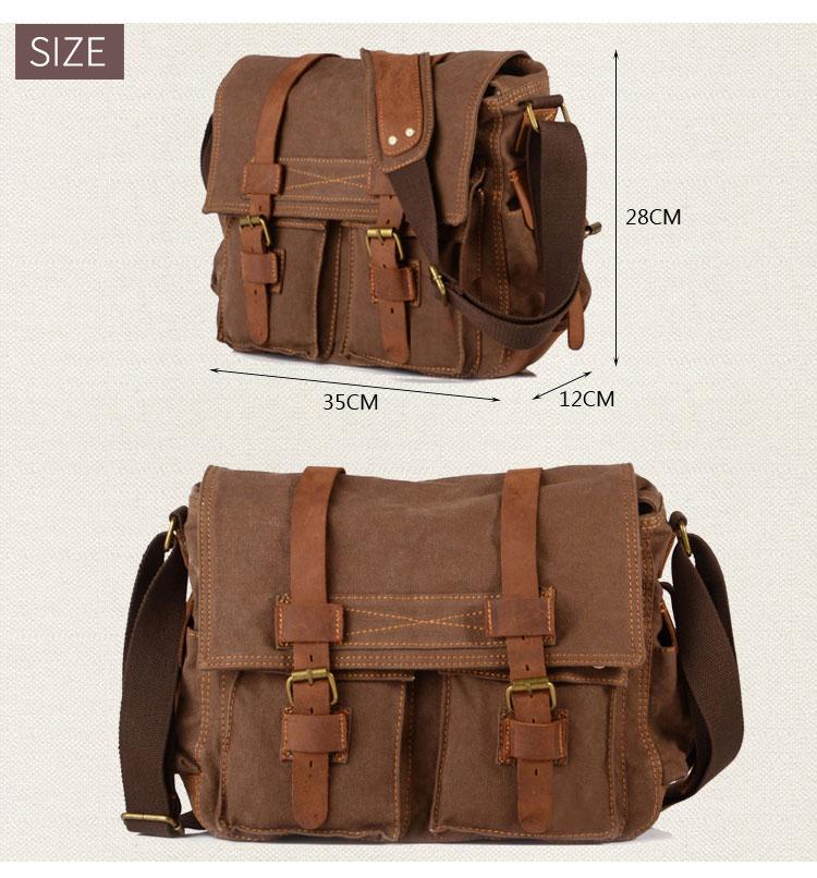 European vintage elegant design cotton canvas unisex shoulder messenger crossbody sling satchel bag