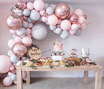 "130 pcs Macaron Balloon Arch Garland Kit Double Stuffed 5""-18"" Pink Gray Rose Gold Confetti Balloons Bulk 16ft for Party Event"