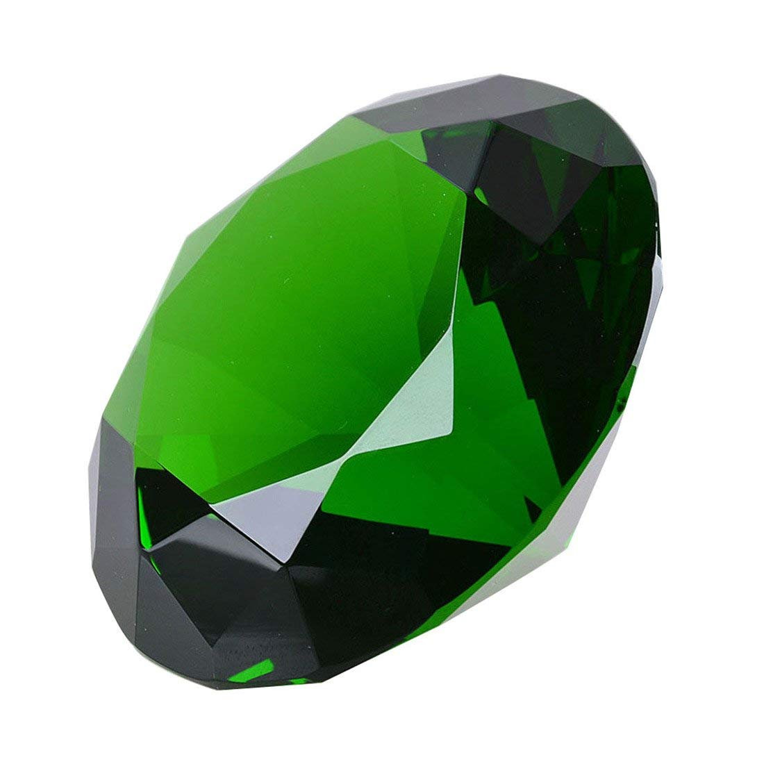 60MM Glass Crystal Diamond Shaped Paperweight,Fake Diamond Jewel Paperweight For Decoration,Green