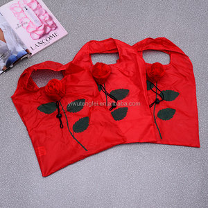 Promotional Rose Shaped Polyester Nylon Folding Tote Bag For Shopping