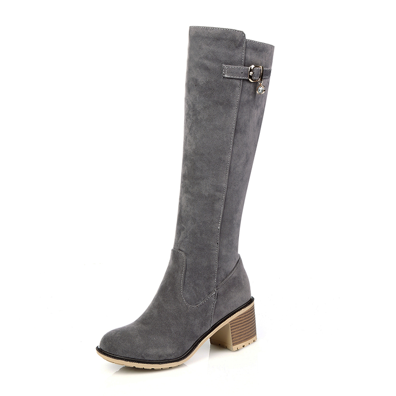 Alibaba wholesale faux kid suede women long knee <strong>boots</strong> low heel walk ladies <strong>boots</strong> women winter warm <strong>boots</strong>
