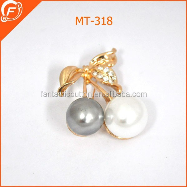 cute coconut shaped big pearl pin brooches for suit