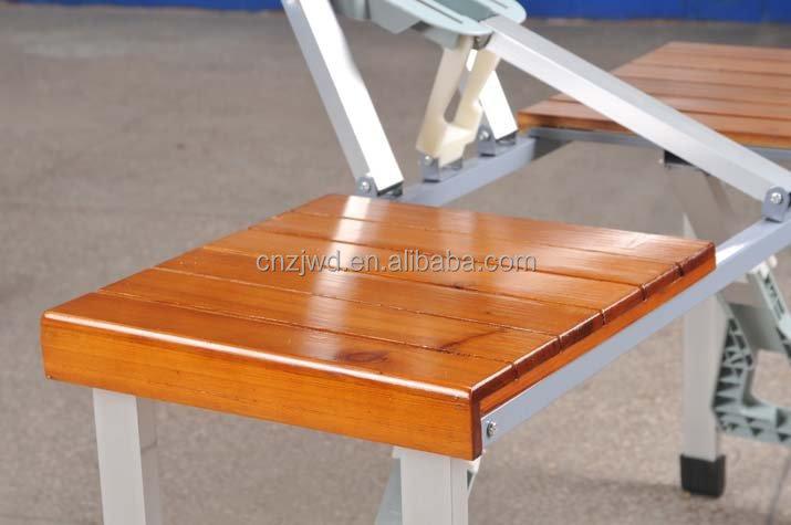 Plegable portable madera mesa de camping con 4 asientos for Mesa plegable con asientos