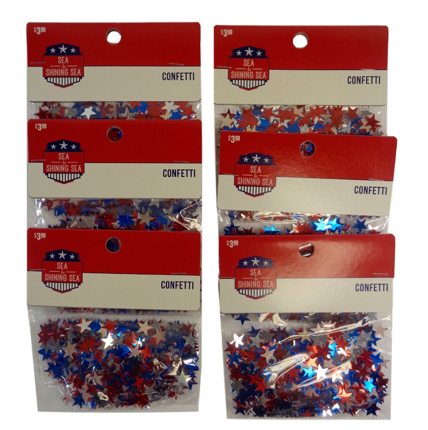 Bulk Buy: Patriotic Metallic Star Confetti, Pack of (6) (Red, Silver & Blue)