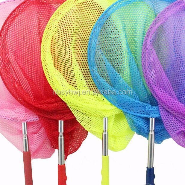 Factory supply plastic butterfly net, Colorful mesh butterfly net, Colorful handle butterfly net