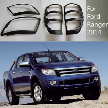 ABS Plasitc Black Rear Light Cover For 2014 Ford Ranger T6 Head And Tail