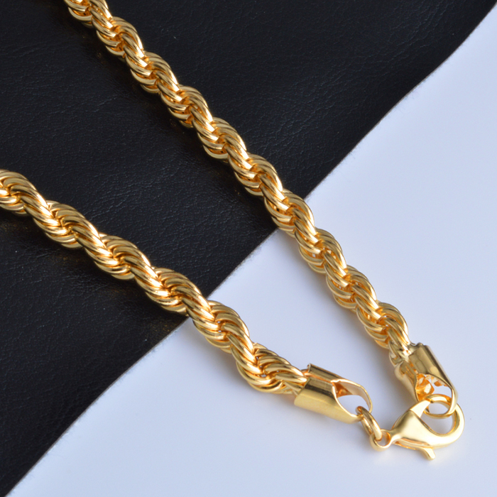 Hot selling stainless steel jewelry chain 6mm thick women gold rope necklace фото