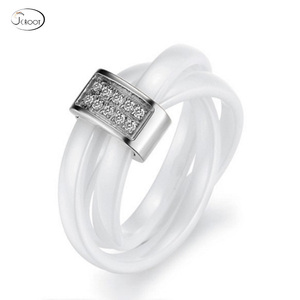 Shenzhen factory wholesale fashion ceramics wedding ring stainless steel wedding ring for women