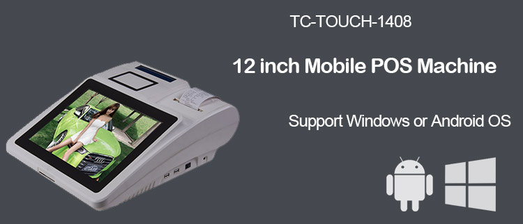 12 inch cheap mobile desktop all in one touch screen android pos machine VFD customer display with thermal receipt printer