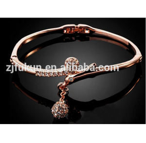 funky rose gold crystals ball charm bangles