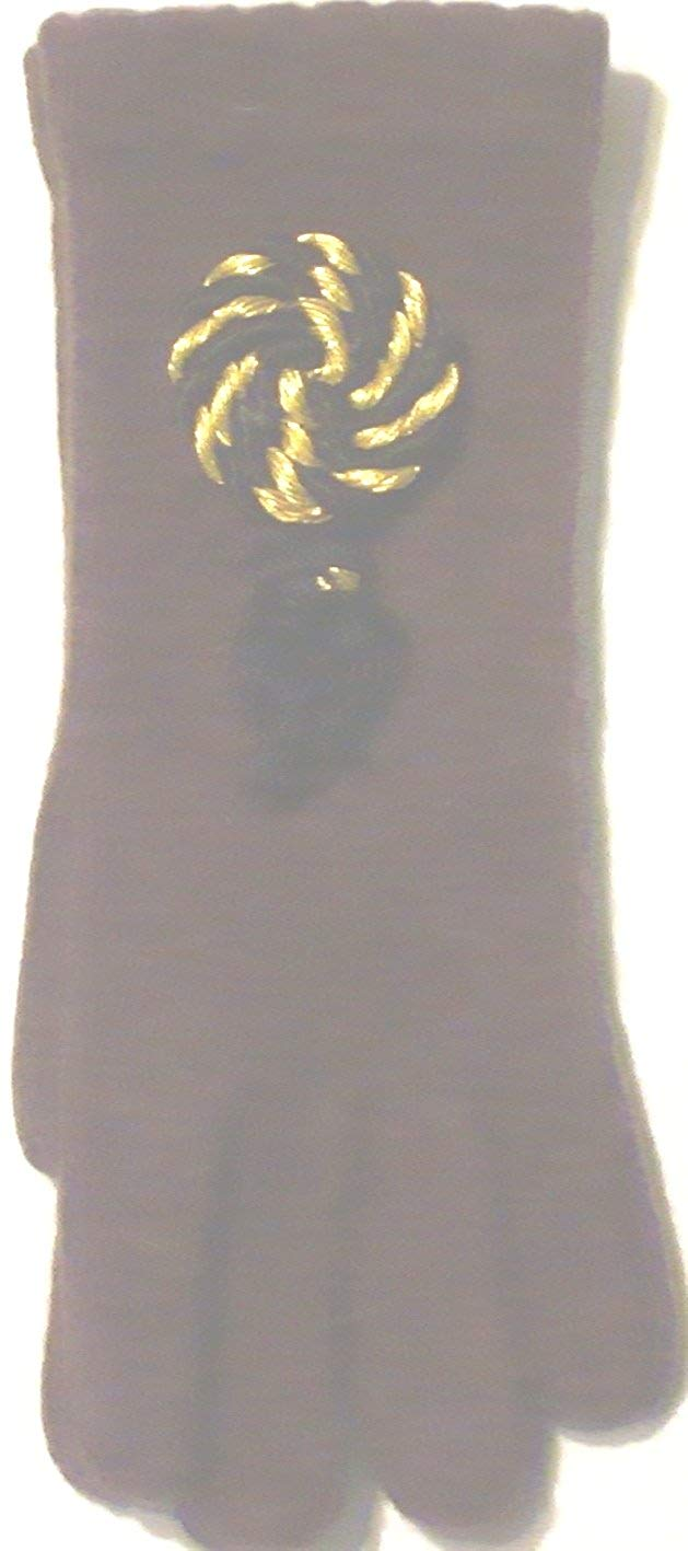 Dark Brown Color One Size Angora Lamb Wool Reinforced with Nylon Fiber Gloves with Gold and Black Braid and Tassel