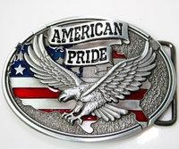 dye casting silver plating 3D metal American Pride Us Flag Soaring Eagle Belt Buckle