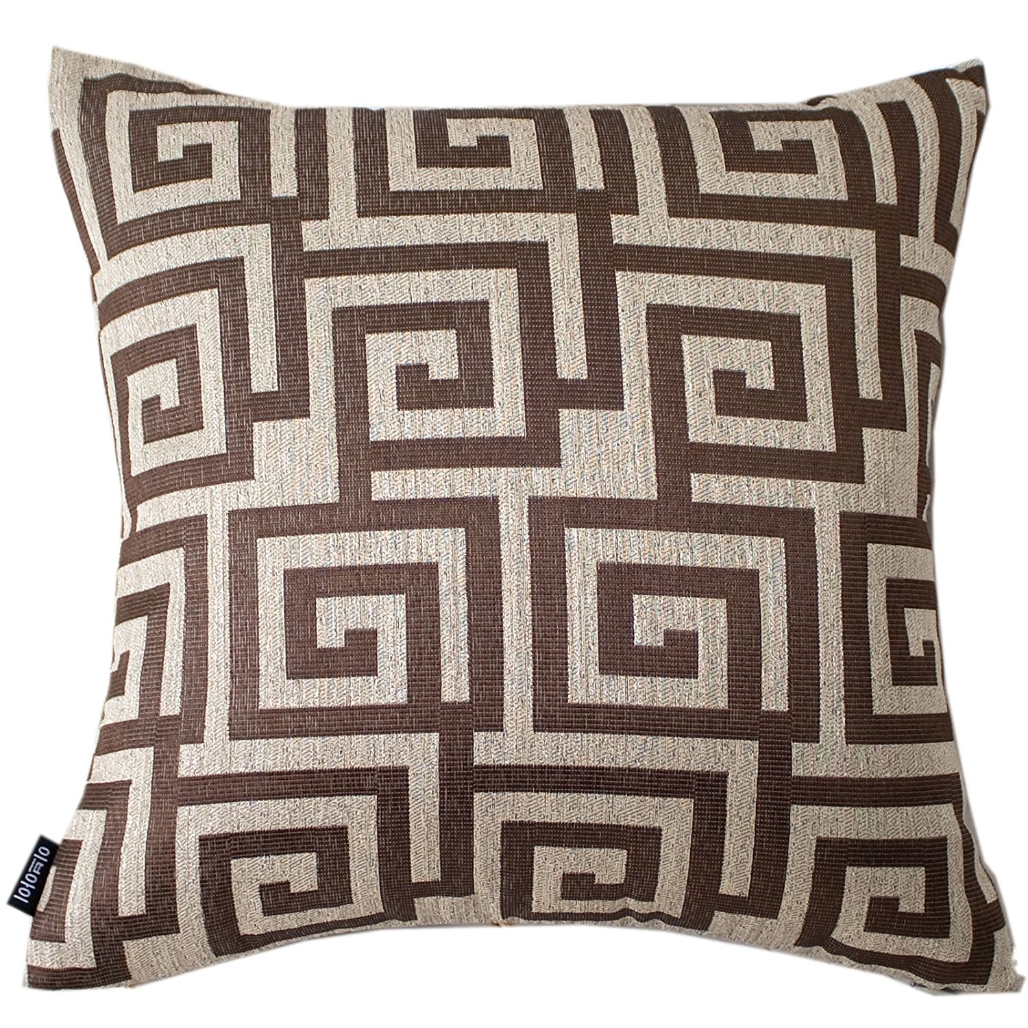"""Evei Vintage Luxury Brown Color Jacquard Home Decorative Throw Pillow Case / Cushion Cover Square 16"""" 18"""" 20"""" Choice (18""""x18""""inch(45x45cm))"""
